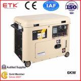 электрическим тип охлаженный воздухом одиночного цилиндра пользы дома старта 6kw молчком портативный тепловозный генератор