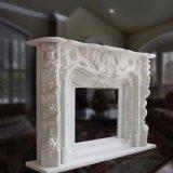 Decoração em pedra natural em mármore branco lareira de mármore Mantel