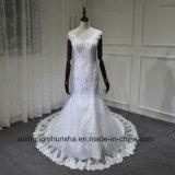 Русалки кружева использованием стекла с V-образный вырез горловины Sexy Сарафан свадебные платья