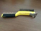 11 polegadas pega de plástico de duas cores escova com cerdas de aço (AA-538)