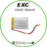 3.7V 1800mAh Li-ion batería de la célula 103450 para el GPS