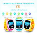 Reloj del perseguidor del GPS elegante del niño/de los cabritos de la pantalla táctil colorida con la Geo-Cerca Y8