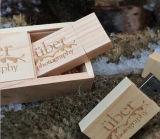 El logotipo de bricolaje madera versión USB 2.0 Flash Memory Stick Pen Drive para fotografía de bodas de bambú de nogal, Arce