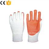 Трикотажные хлопка линии с покрытием из латекса рабочие перчатки резиновые перчатки