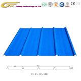El material de construcción del techo de metal con recubrimiento de color del panel de pared