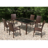 Jardin extérieur Meubles en rotin Table à manger 4 chaises (FS-2055 + FS-2057)