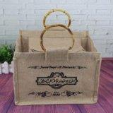 승진을%s Eco-Friendly 황마 음식 핸드백 끈달린 가방 쇼핑 백