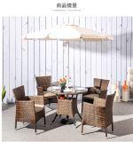 Tabella pranzante di vimini e presidenze di svago della mobilia del giardino esterno moderno del rattan