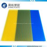 Het berijpte Gele TweelingBlad van het Dakwerk van het Polycarbonaat van de Muur Holle