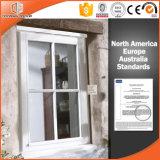 Barra horizontal en el vidrio Ventana de madera de roble de aluminio, aluminio Ventana de paneles sólidos de roble sólido blanco