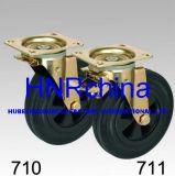 Schwarzer Gummischwenker mit doppelter Verriegelungsplatten-Oberseite-Rahmen-Fußrolle