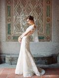 Oferta de marfil de la moda de trompeta de hombro de la boda de encaje vestidos de novia