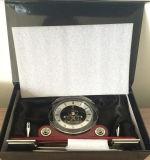 Antique Pen Holder Relógio de mesa de madeira para escritório