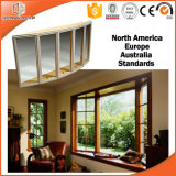 Baia di tecnologia del rivestimento della polvere della lega di alluminio di legno solido & finestra di arco esterne, finestra popolare di specialità con la griglia