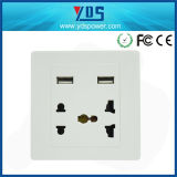 5V 2.1AのセリウムのUniversal Dual USB Wall Socket 5 Pin