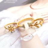 금이 닻 방향타 반지 세트 열리는 반지 형식 보석을 도금했다