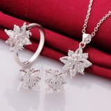 Zircon Flower Shape Necklace Earring와 Rings를 가진 925 영화 Silver Plated Jewelry Set