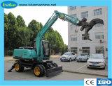 Excavadora de ruedas de tamaño medio con tenazas de registro, Caña de Azúcar pala de carga de residuos para la venta