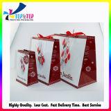 con la cinta maneja el bolso plegable del regalo del papel de la suposición de las compras