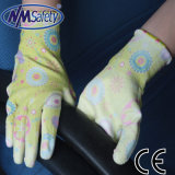 Nmsafety Polyester Liner Poli de revêtement PU Gants