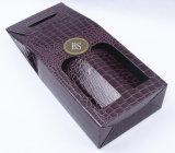 Boîte de papier de gaufrage violet pour deux bouteilles de vins