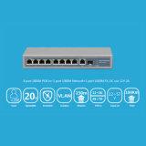 8 Rev del interruptor 8*Fe del Poe del revés y Uplink portuarios de la fibra del 1*100m Fx