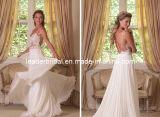 투명한 레이스 신부 드레스 등이 없는 바닷가 시퐁 결혼 예복 H14617