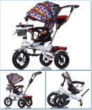 El marco de los triciclos del pasajero del bebé del cinturón de seguridad embroma el triciclo con el pabellón