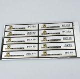Etiquetas vinilo impreso de la hoja de plata brillante