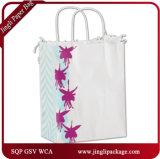 Fúcsia Compradores Floral Eco-Friendly Marrom comercial de Papel Kraft Natural de sacos com alças de papel torcido
