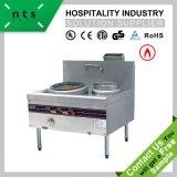 acier inoxydable cuisinière à gaz gamme de cuisine chinoise avec ventilateur