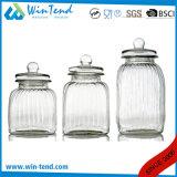 Commerce de gros pot de verre de stockage de cuisine Canister avec couvercle en verre de vis