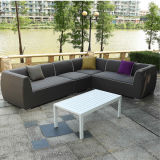 Spätestes Entwurfs-im Freiengarten-Pythonschlange-Ecken-Sofa gesetzte wasserdichte Sunproof Aluminiumaufenthaltsraum-Möbel mit ausgeglichenes Glas-Tisch
