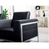 Sofá negro de la recepción de la oficina del cuero genuino del color con el marco de acero inoxidable