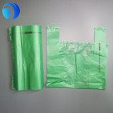 安いプラスチックによって印刷される緑のTシャツ袋