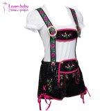 L'allemand de Bavière brodé Lange Black Mini Mesdames Lederhosen L1210