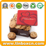 O metal quadrado pode estanho dos bolinhos do biscoito do chocolate para presentes dos Valentim