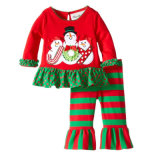 Équipements de guêtres de pyjamas réglés de Noël d'enfant en bas âge de bébé premiers, 2 parties de Noël de chemise de chemise de pantalon de jeu d'équipement