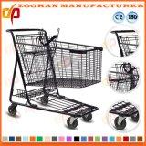 Супермаркет провода металла 2 ярусов регулируя тележку вагонетки покупкы (Zht204)