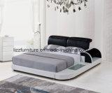 서랍을%s 가진 조정가능한 침대 머리 현대 침실 가죽 2인용 침대