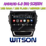 "Witson 9 "" Hyundai IX45 (낮은) 2017년을%s 큰 스크린 인조 인간 6.0 차 DVD"