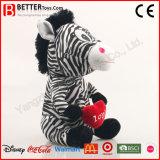 Vulde het Zachte Stuk speelgoed van de Gift van de valentijnskaart de Dierlijke Zebra van de Pluche voor het Meisje van de Baby