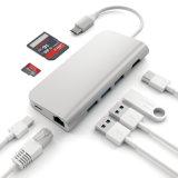 C Hub USB de Aluminio de 8 en 1 Adaptador Multipuerto Cubo Combinado para el MacBook de Tipo C Hub a HDMI Ethernet de 4K de Puerto de Carga/Micro SD Card Reader y 3 Puertos USB 3.0