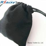 Sacchetto nero portatile personalizzato del Drawstring della tela di canapa per i trasduttori auricolari o il regalo
