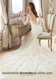 Longues robes de mariage de sirène de chemises de robe nuptiale perlée de lacet Z512