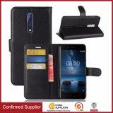 Оптовая продажа регенерировала кожаный крышку стойки Flip бумажника в случай телефона Nokia 8