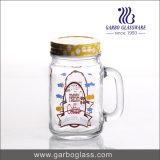 logotipo personalizado punho de Glasswith do suco da bebida do frasco de pedreiro 500ml para Surpermarket