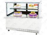 Schwarzer niedriger Kuchen-Marmorierungschaukasten mit 2 Regal Cke Standplatz-Bildschirmanzeige-Kühlraum von der Spitze