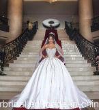 Querido de cristal frisado Strapless do cetim dos vestidos de esfera que Wedding os vestidos nupciais Z2072