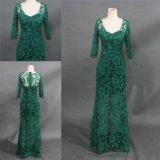 Vestido de noite verde do vestido do laço das luvas longas reais por atacado